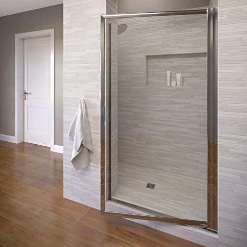 Basco Sopora 33.125- 34.875 in. Width, Pivot Shower Door, Clear Glass, Silver Finish
