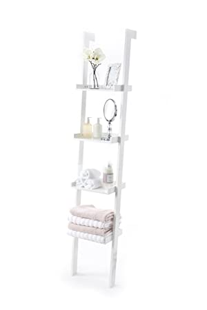 Ladder Leaning Bookshelf Wooden With White Paint Finish 4 Tiers