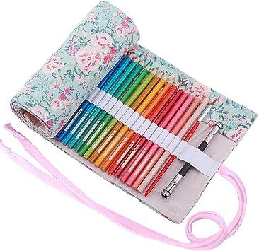 Abaría - 2 unidades bolso de lapices con estuches transparente para arte y officina suministros metal, flor 48 agujeros: Amazon.es: Electrónica