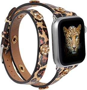 Moolia Double Wrap Band Compatible with Apple Watch Bands 44mm 42mm Women, Slim Leather Double Tour iWatch Bands with Bling Studs Straps Bracelet for Apple Watch Band Series 6 SE 5 4 3 2 1, Leopard