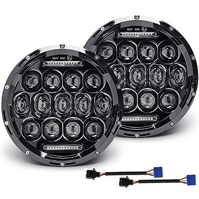 7 inch LED Round Headlight 2pcs E-MARK Approved 6000K/3500 White Amber DRL Hi/lo Beam: Automotive