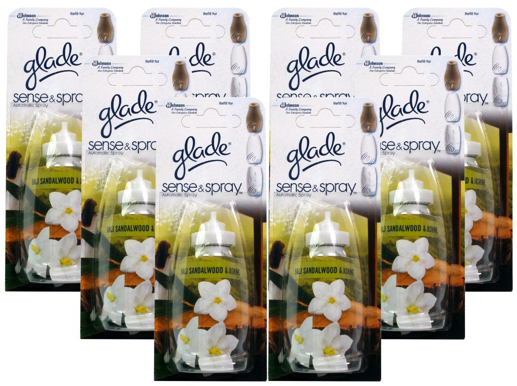 8x Glade Sense and Spray Refill Bali Sandalwood & Jasmine 18ml