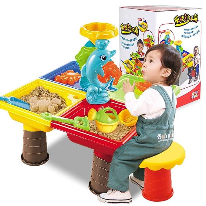 ZMH Mesa de Arena y Agua para niños, Juego de Juguetes de Playa ...