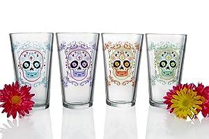 Luminarc Sugar Skulls Assorted Decorated Pub Glasses (Set of 4), 16 oz, Clear