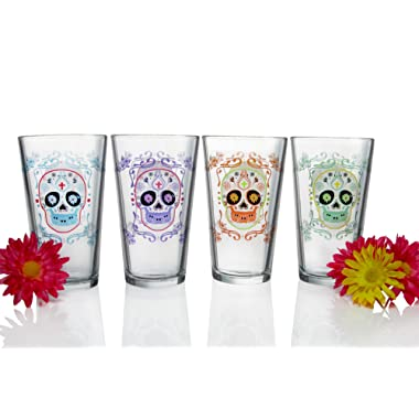 Luminarc N2425 Sugar Skulls Assorted Decorated Pub Glasses (Set of 4), 16 oz, Clear