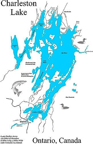 Amazon.com: Charleston Lake, Ontario, Canada: Framed Wood Map Wall ...
