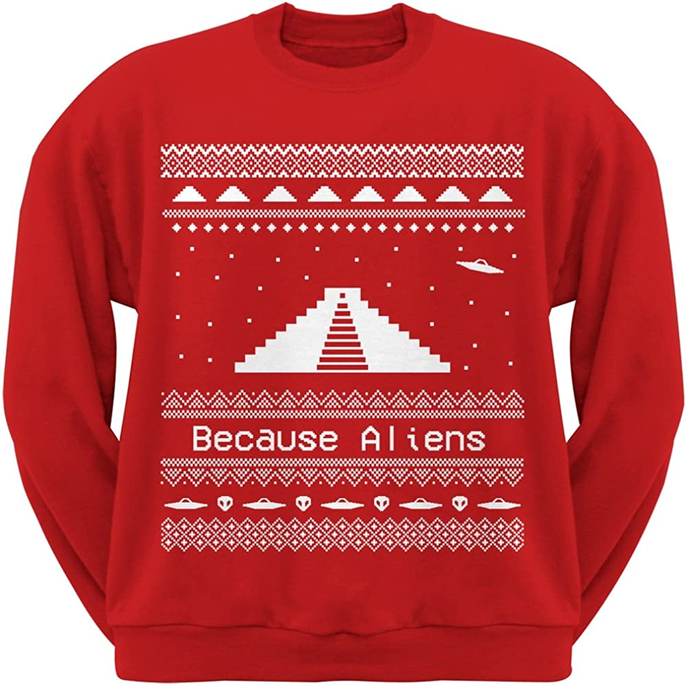 Old Glory Ancient Aliens Ugly Christmas Sweater Red Crew Neck Sweatshirt