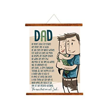 YaYa Cafe Fathers Day Greeting Cards Greatest Blessing Dad Message Scroll Card For Wall Hanging Decor