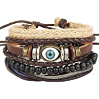 Bullidea Multiple Layers Retro Woven Cuff Elastic Bracelet Leather Bracelet Constellation Braided Beaded Rope Bracelet…