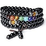 AmorWing Multilayer 6mm Onyx 7 Chakra Gemstone Yoga Mala Prayer Bracelet/Necklace