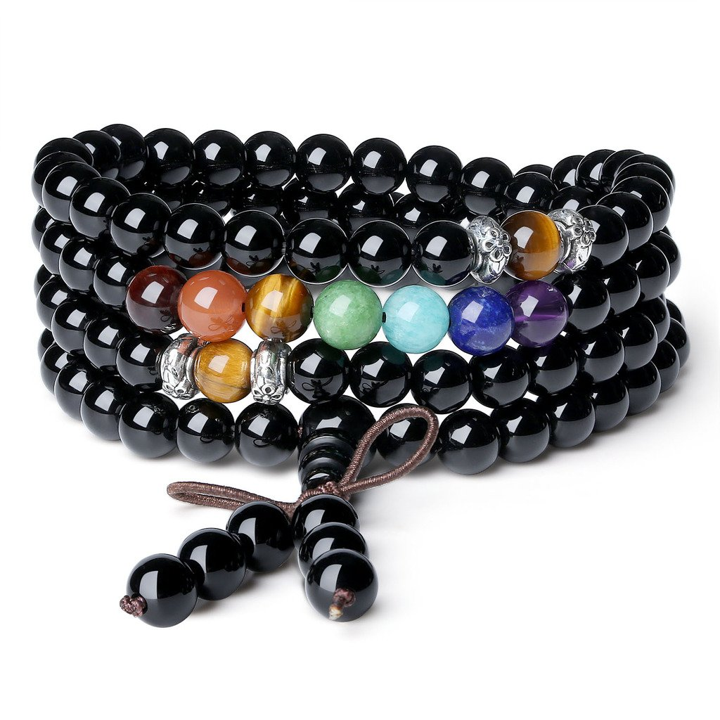 AmorWing Multilayer 6mm Onyx 7 Chakra Gemstone Mala Prayer 108 Mala Beads Bracelet/Necklace COAI N176-1