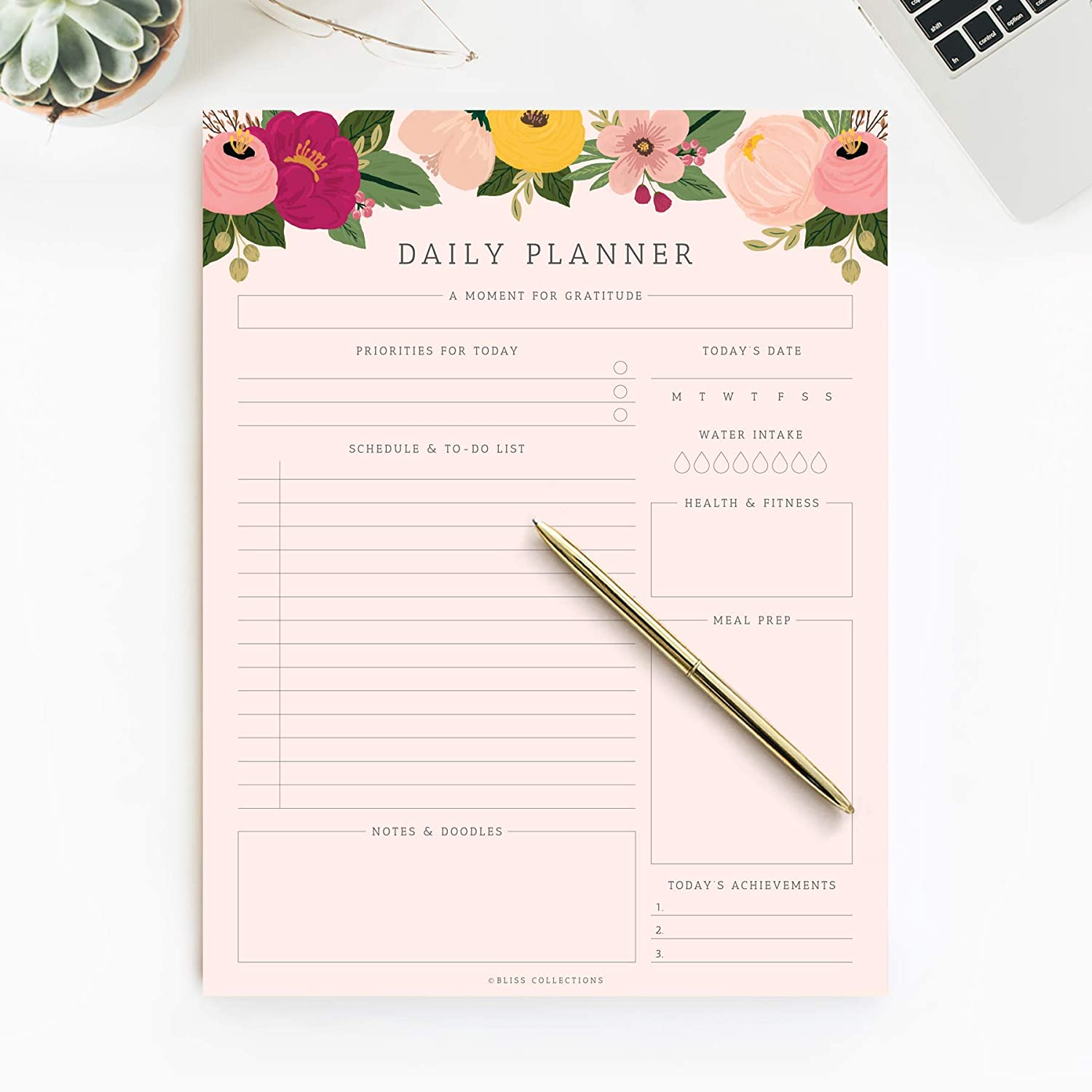 Bliss Collections Daily Planner, 50 Undated 8.5 x 11 Tear-Off Sheets, Blush Floral Calendar, Organizer, Scheduler, Productivity Tracker, Meal Prep, Organize Tasks, Goals, Notes, Ideas, to Do Lists