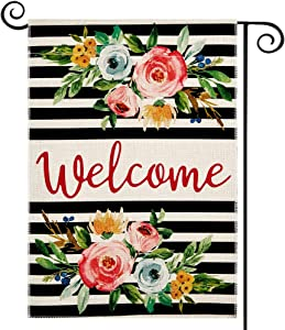 DOLOPL Summer Welcome Garden Flag 12.5x18 Inch Double Sided Decorative Peonies Black Line Floral Small Yard Garden Flags for Outside Summer Outdoor Decorations
