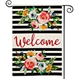 DOLOPL Summer Welcome Garden Flag 12.5x18 Inch Double Sided Decorative Peonies Black Line Floral Small Yard Garden Flags…