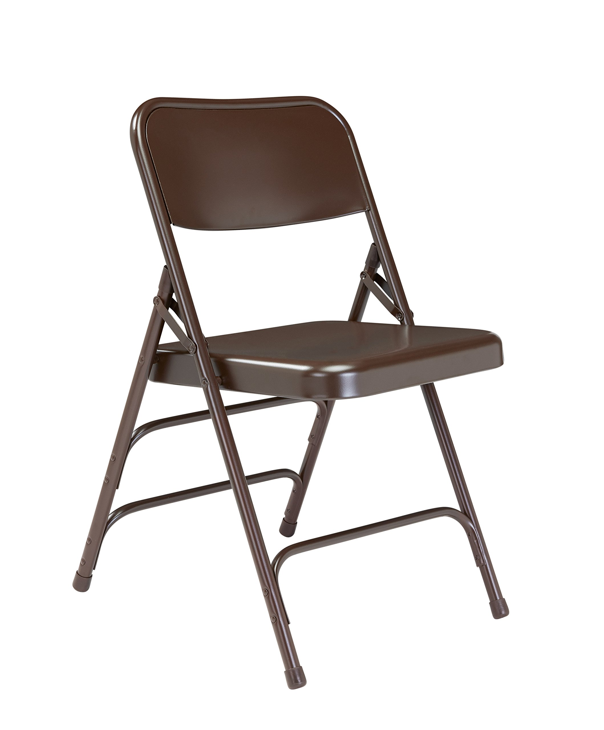 National Public Seating 300 Series All Steel Premium Folding Chair with Triple Brace, 480 lbs Capacity, Brown (Carton of 4) by NPS