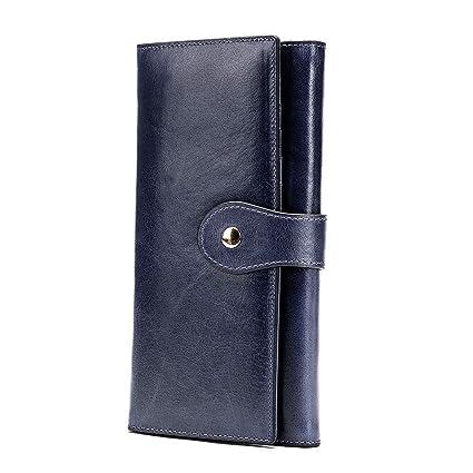Monedero de Mujer Billeteras Largo de Gran Capacidad con RFID Bloqueo Cera Piel Genuina,Cartera con Caja de Regalo,Azul Oscuro