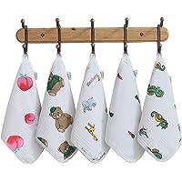 5 Packs Muslin Baby Washcloths Soft Organic Baby Wash Cloths Perfect for Newborn Sensitive Skin Baby Wipes Burp Face…
