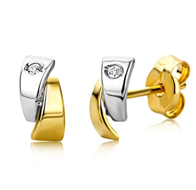 bestbewertet Online gehen um 50 Prozent reduziert Miore Ohrringe Damen Bicolor Gelbgold/Weißgold 18 Karat / 750 Gold Diamant  Brillianten