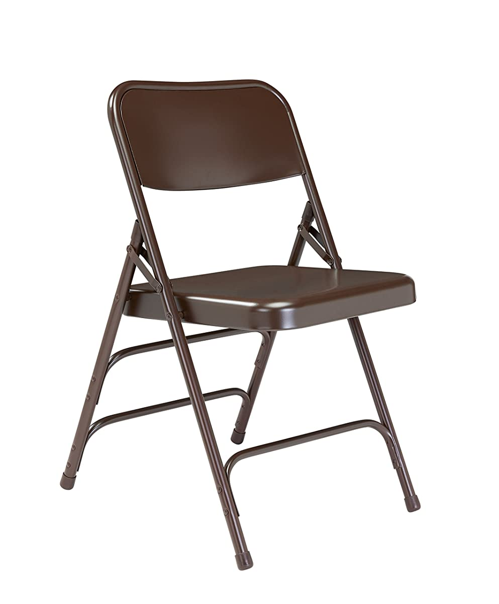 National Public Seating 300 Series All Steel Premium Folding Chair with Triple Brace, 480 lbs Capacity, Brown (Carton of 4)