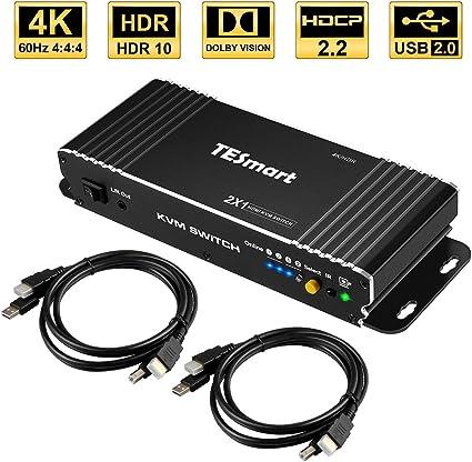 TESmart Commutateur KVM HDMI 2 Ports 4/K Ultra/HD de r/ésolution 3840x2160 /à 60/Hz 4:4:4 pouvant Prendre en Charge Les appareils/USB/2.0 et contr/ôler Jusqu/'/à 2/Ordinateurs//serveurs//DVR