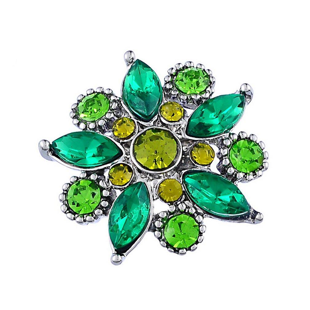 Godagoda Couleur Argent Mat Forme de Fleur avec Strass Multicolore Bouton a Pression pour Bracelet A000A13R5
