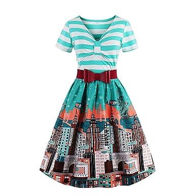 Vintage Summer Women Blue Striped Bowknot Party V Neck Mid Waist Short Sleeve Dresses,Blue
