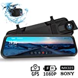 "Dash Cam, DuDuBell 10"" Mirror Dash Cam with Reverse Assistance, Backup Camera Dual 1080P External GPS, Front and Sony IMX323 Rear Camera with Night Vision IPS Touch Screen Wide Angle HDR+"