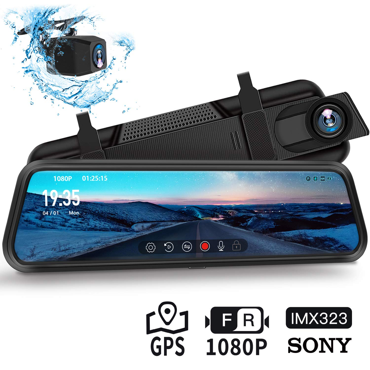 Dash Cam, DuDuBell 10'' Mirror Dash Cam with Reverse Assistance, Backup Camera Dual 1080P External GPS, Front and Sony IMX323 Rear Camera with Night Vision IPS Touch Screen Wide Angle HDR+
