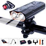 HUAYUU® USB Rechargeable Bike Light Set, Super Bright Waterproof 2400 Lumens Bike Headlamp Bicycle Lights Front Cycling Headlight Cree Led Bike Light and Taillight Easy to Mount Fit Mountain Bikes