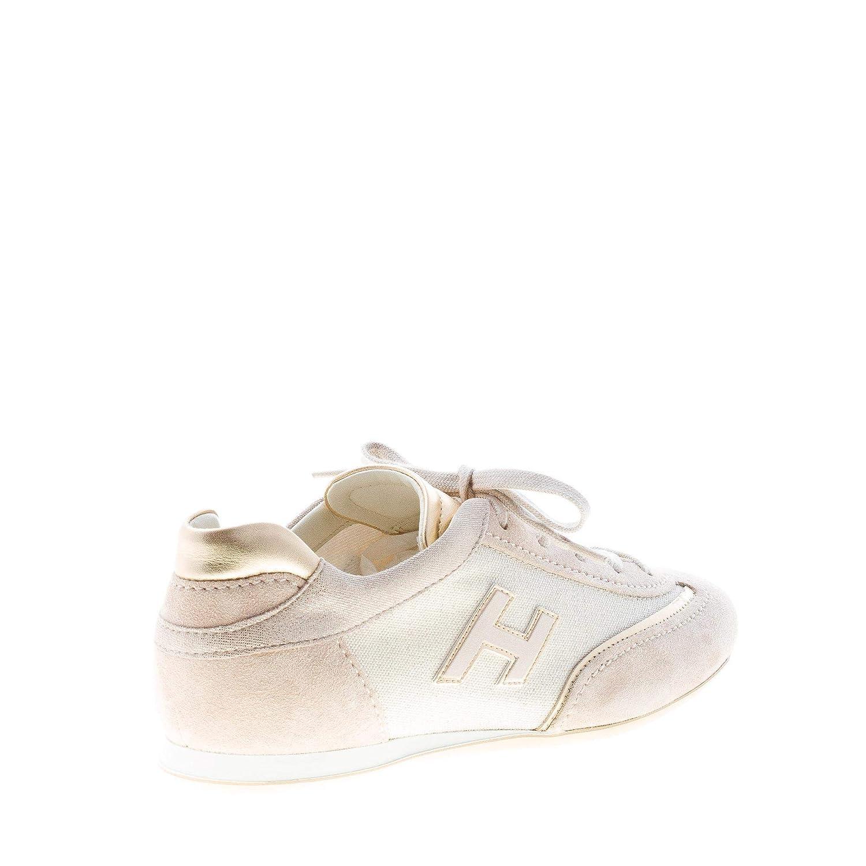 Dettagli su HOGAN scarpe donna Olympia sneaker in camoscio e tessuto lurex beige più oro