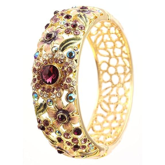Elementos de Swarovski Novedad pulseras brazalete magnético brazalete Color púrpura esmalte turquesa cristal oro de 18 K mujerhttps://amzn.to/2yZ08rc