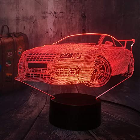 KangYD Luz 3D/Cool Modern Car Night Light 3D Led Lámpara de ...