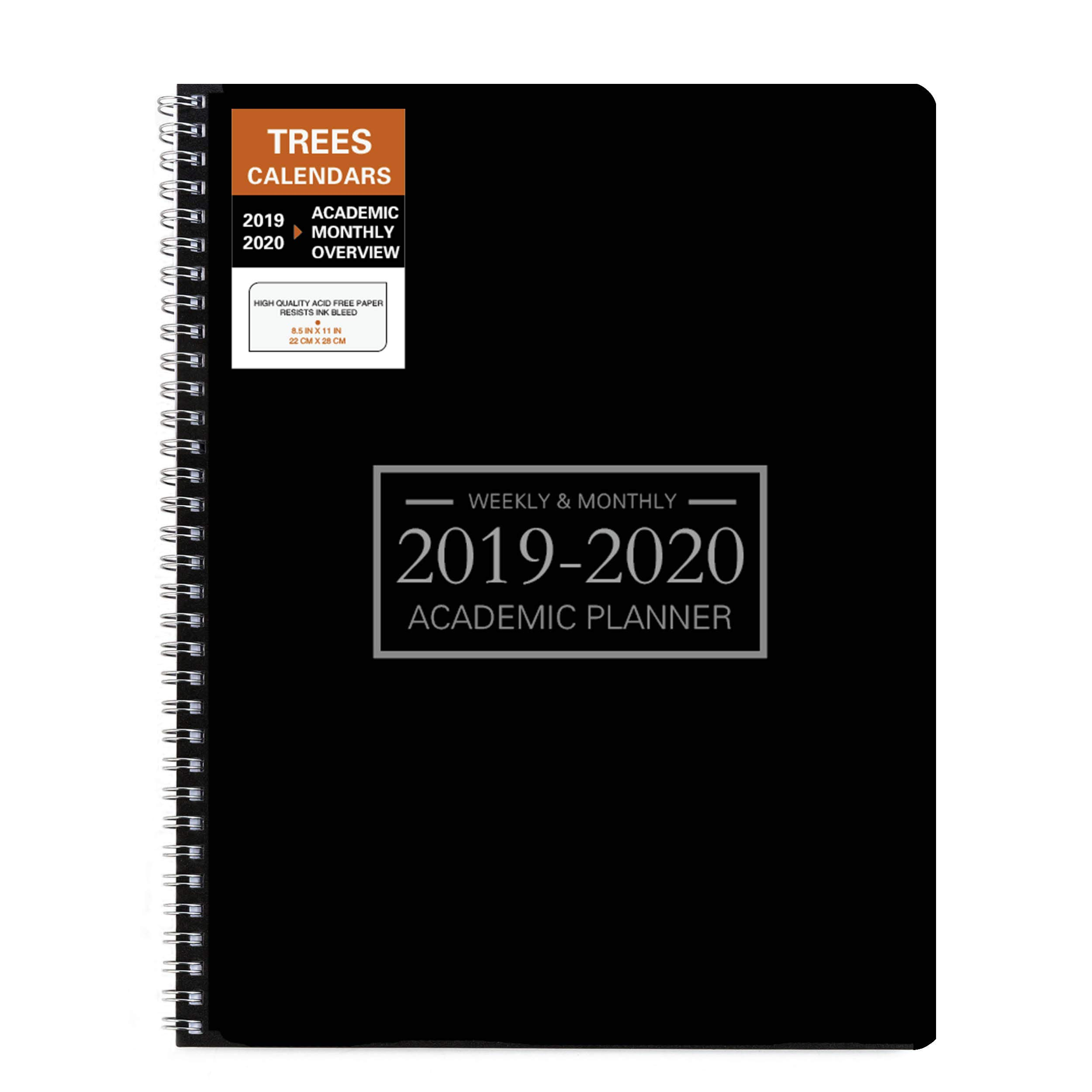 Academic Planner 2019-2020 Weekly 9''×11'' Time Management Hard PVC Cover with Wire Spiral Bound