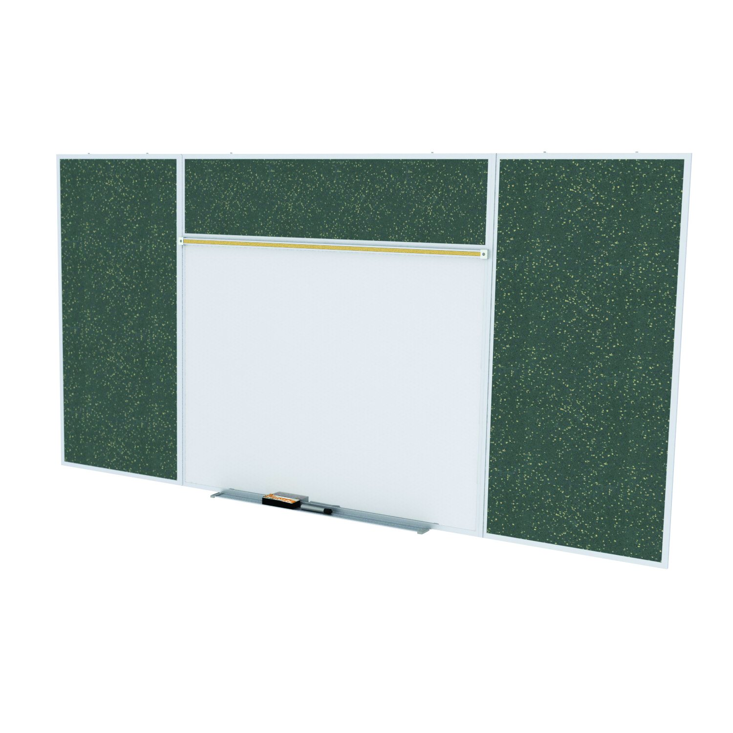 Ghent Style E 4 x 8 Feet Combination Board, Porcelain Magnetic Whiteboard and Recycled Rubber Bulletin Board, Tan Speckled , Made in the USA