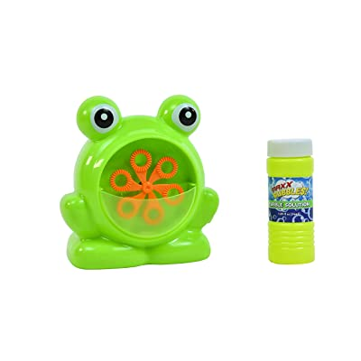 Sunny Days Entertainment Maxx Bubbles Mini Green Frog Bubble Machine – Durable Automatic Bubble Blower for Kids Parties | Includes Bubble Solution: Toys & Games