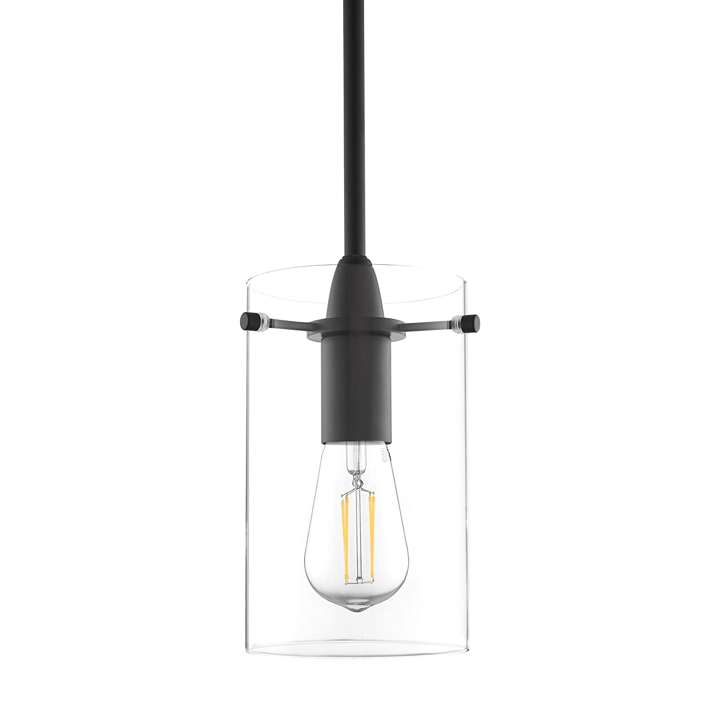 Effimero Medium Hanging Pendant Light | Black Kitchen Island Light, Clear Glass Shade LL-P313-BLK