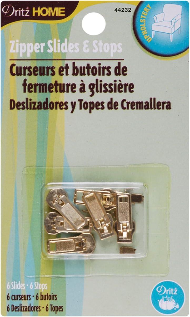 Dritz Home 44232 Zipper Slides & Stops, Brass (6-Sets)