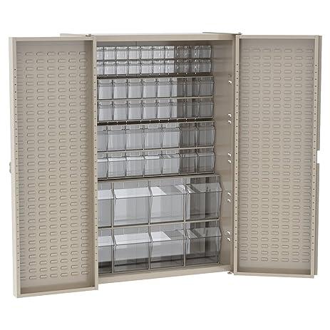 Akro Mils HD4824TVBE Heavy Duty Steel Storage Bin Cabinet With Louvered  Back, Louvered Doors