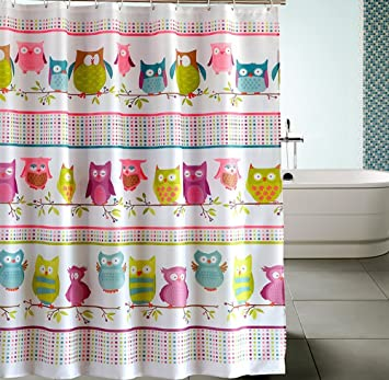 Extra Long Hookless Shower Curtain   80 Inch By 72 Inch, Owl With