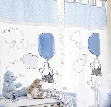 Parure de lit bébé Bleu/motif Winnie l\'ourson Play 2 rideaux