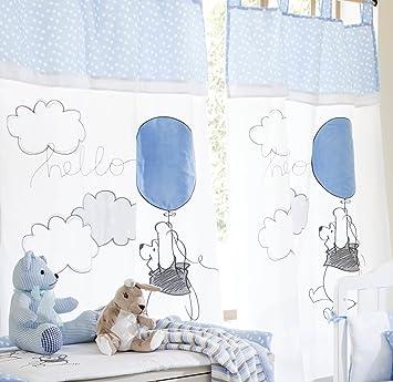 Parure de lit bébé Bleu/motif Winnie l\'ourson Play 2 rideaux: Amazon ...