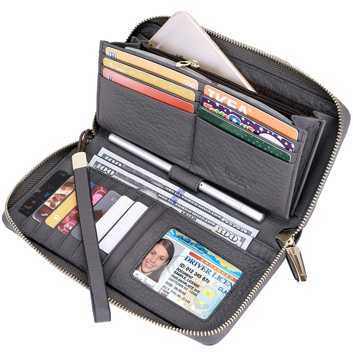 Itslife Women RFID Blocking Wallet Leather Zip Around Phone Clutch Large Travel Purse Wristlet (Grey) by ITSLIFE