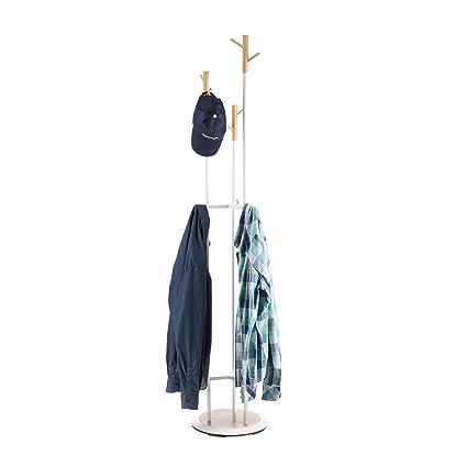 Relaxdays – Perchero de pie de Metal y Madera, para Chaquetas, con 9 Ganchos, 178 x 36,5 cm, Color Blanco