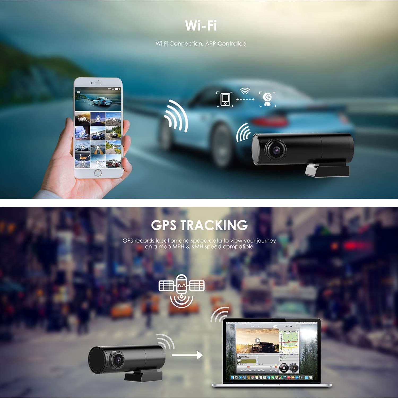 SZKJ LS01 Mini cámara Oculta para salpicadero de Coche DVR con GPS WiFi 2.4G y 5G de Doble Banda Frontal 2K 1440P + cámara Trasera 1080P WDR visión Nocturna Doble Lente cámara: