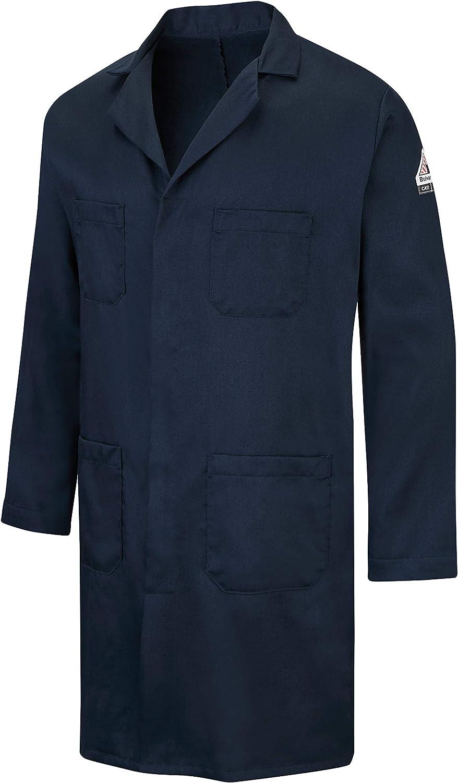 Bulwark FR mens Fr Concealed Snap-front Lab Coat: Clothing