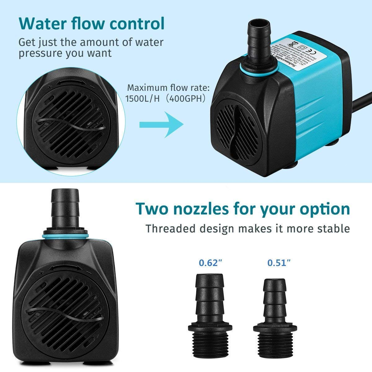 Upgraded 400GPH 1500L//H Ultra-Quiet Fountain Pu VICTSING Submersible Water Pump