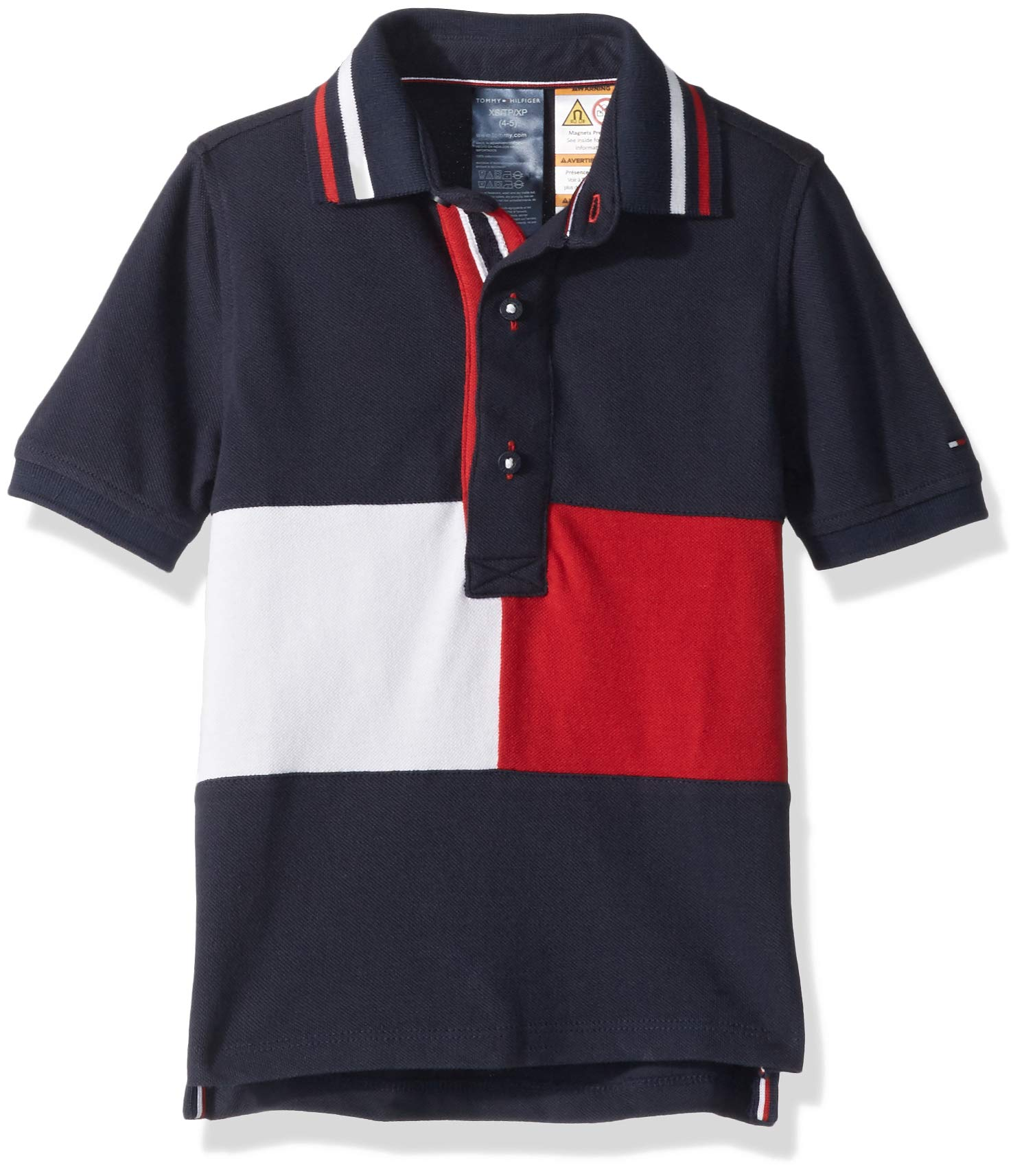 Tommy Hilfiger Boys' Adaptive Polo Shirt with Magnetic Buttons, Navy blazer LG
