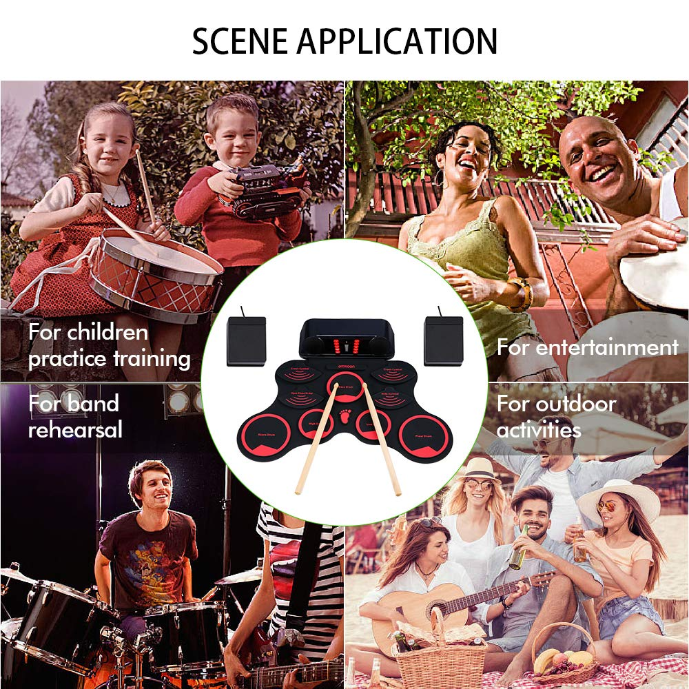 ammoon Electronic Roll-up Drum Set Digital MIDI Drum Kit 9 Silicon Durm Pads Built-in Stereo Speakers Rechargeable Lithium Battery with 2 Foot Pedals for Kids Children Beginners by ammoon (Image #8)