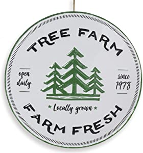 "13.5-Inch Vintage Embossed Metal Round Country Christmas ""Tree Farm"" Sign – Rustic Hanging Holiday Wall Art Decoration – Indoor Outdoor Farmhouse Decor for Home, Front Porch, or Kitchen"