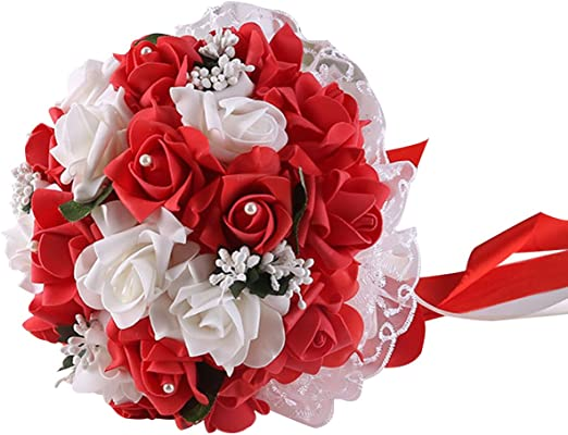 Amazon Com Ksdn Artificial Rose Flower Bridal Bouquet Lace Foam